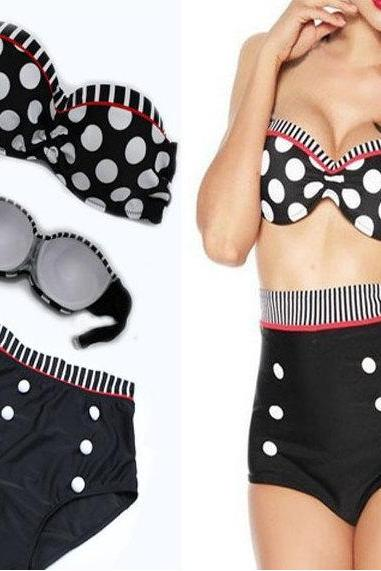Retro 50s Polka Black Dot Pin Up Vintage top bottom High Waist Bikini Swimwear