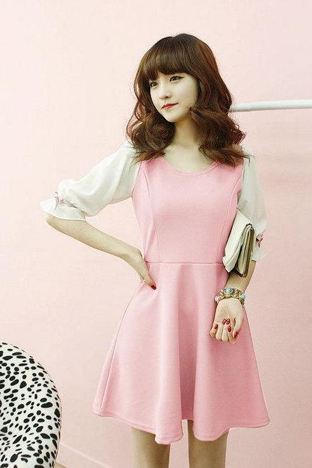 Office Girl Lady Lolita Princess Sweet Chiffon Sleeve Bridesmaid Cocktail Dress