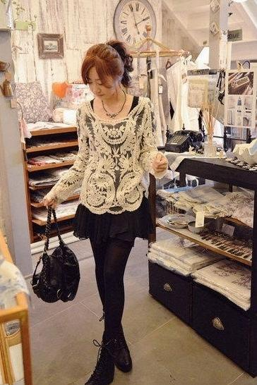 Sexy Semi Sheer Sleeve Embroidery Floral Lace Crochet Tee Top T Shirt Blouse Clothes