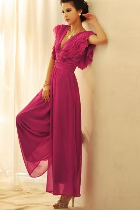 Low Cut V neck Waist Pants Party Evening Coaktail Jumpsuit Wide Legs Chiffon Maxi Ruffle Tiered Design Dress