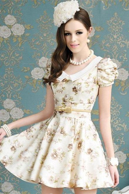 Charmning Fine Quality Women Floral Bowknot Ball Gown Short cap Sleeve Dress