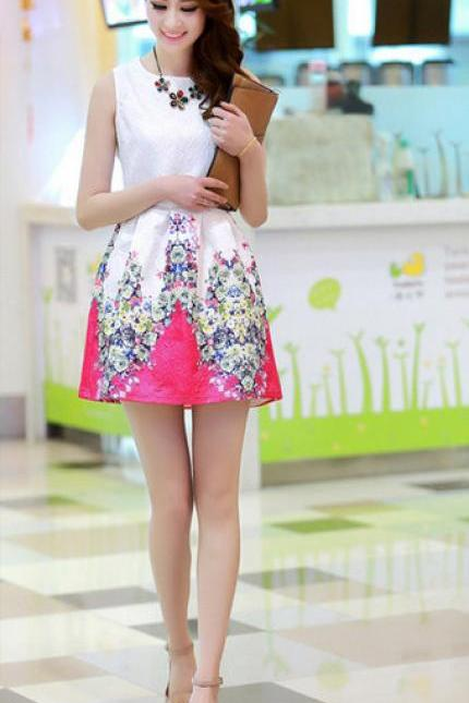 Trendy Women Ladies Digital printing sleeveless Pleated waist vest Causal dress