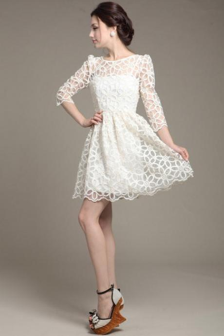 Elegant Women Trendy Lace Sunflower Floral pattern 3/4 sleeve Style White dress