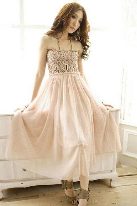 Women Girls Princess Lace Strapless Empire Waist Mid-Calf Lace Gauze Long Party Dress
