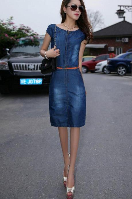 European Fashion Women Girl Cowboy Denim Sleeveless Slim Waist Dress With Belt