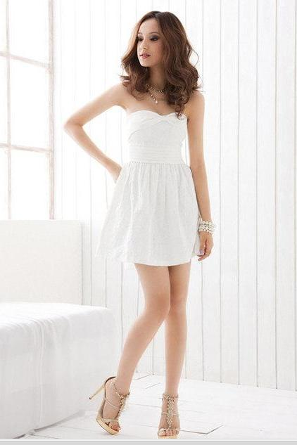 Women Solid Color Embroider Flower Elegant Chiffon Ribbon Strapless Cocktail Mini Dress