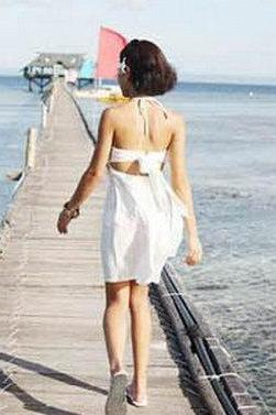 Look Simple Nice Swimsuit White Color 3 pcs Beach Cover up dress & Bikini