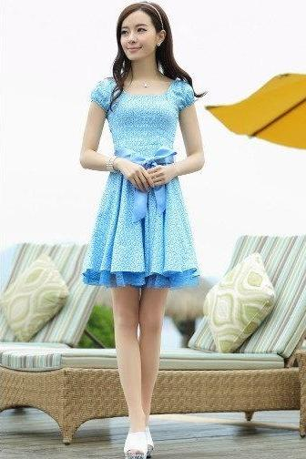 Blue Pattern Print Bow Waist Pleated Retro Lace One Piece Dress