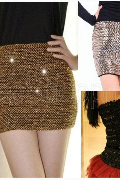Sexy Bandage Shiny Sequin Glitter Club Party Bodycon fit Mini Skirt