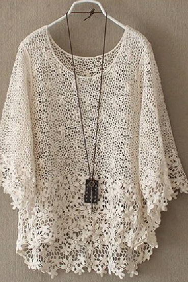 Fashion HOLLOW OUT LACE SMOCK shirt