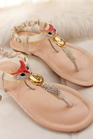 Simply Adorable Rhinestone Fox Design Sandals in Pink and Apricot