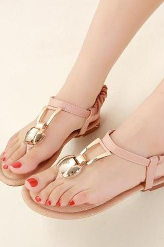 Boho Diamond Decorated Sandals in Apricot and PInk