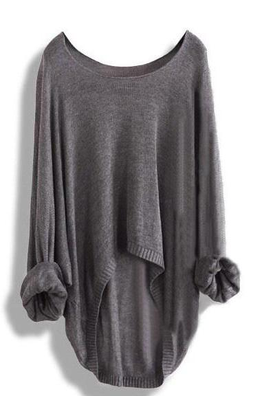 Free shipping Light gray Hollow Knit Shirt Blouse