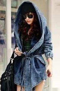 Vintage Hood Blue Denim Jacket For Women Spring Autumn Jean Coat Plus Size Outerwear Clothing WC263