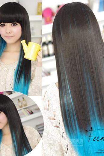 Black and Blue Color Hightlight sexy Straight Wigs style cosplay long hair