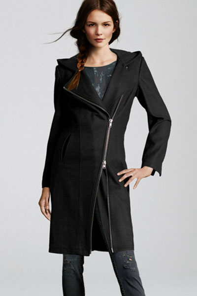 Cheap Fashion Long Sleeve Zipper Design Black Imitation Wool Suiting Hooded Long Trench Coat