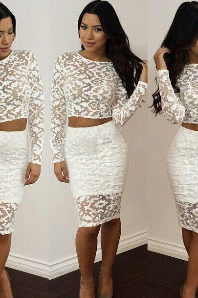 Cheap Sexy O Neck Long Sleeve Embroidered Lace Mesh Patchwork White Polyester Two-piece Sheath Mini Dress