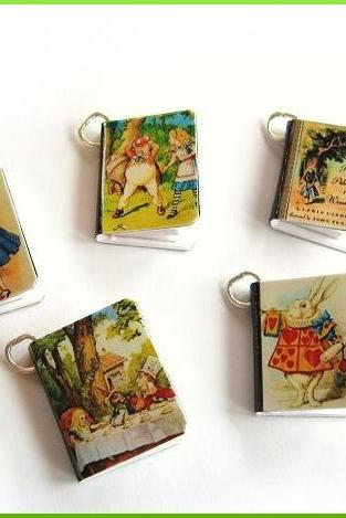 Alice in Wonderland Mini Book Charms Set of all 5