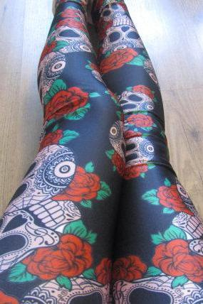 SHIP FROM NY - Skull Print Leggings / Yoga Leggings / Halloween Leggings