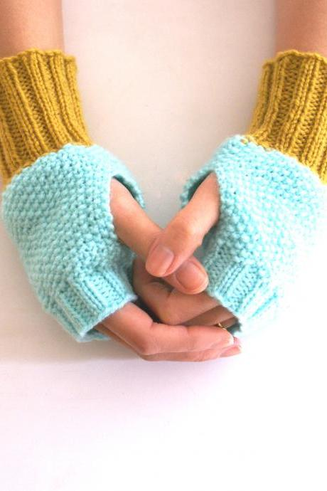 Fingerless Gloves, Wrist Warmers in Turquoise and Mustard Yellow