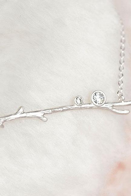 Silver Twig Branch Necklace, Woodland Nature Inspired, Bridesmaid Gift