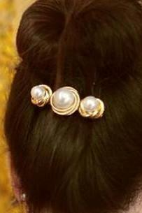 Cheap Celebrity Fashion Pearls Embellished Gold Metal Hairpin