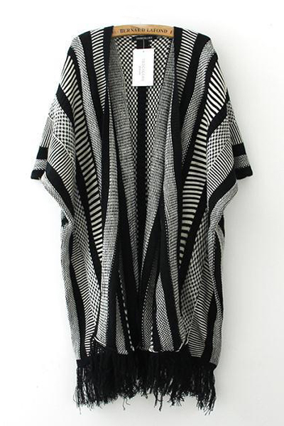 Cheap New Style Long Sleeve Tassels Design Houndstooth and Stripes Print Wool Long Cardigan Sweater