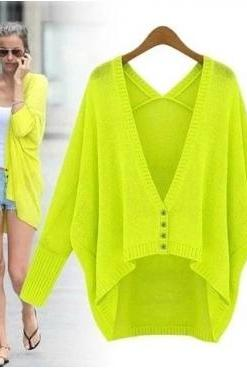 Cheap New Style V Neck Long Bat Sleeves Single-breasted Green Acrylic Regular Cardigan Sweater