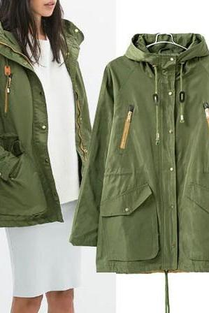 Cheap New Style Long Sleeves Zipper Big Pockets Design Green Polyester Long Hooded Trench Coat