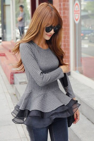 Cheap New Style O Neck Long Sleeves Patchwork Hem Design Grey Regular Knitting Pullover Sweater