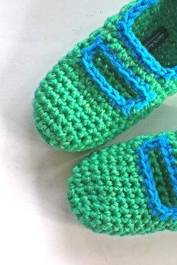 Crochet Mary Jane Slippers for Women in Jade Green and Azure