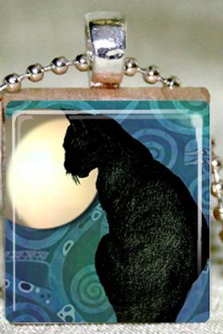 Black Cat Scrabble Pendant with Necklace and Matching Gift Tin