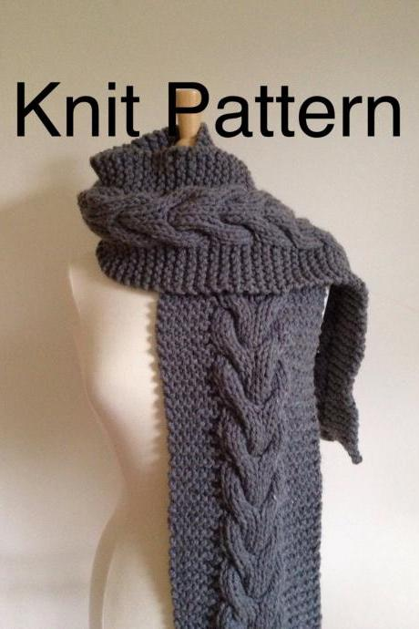 Knit Pattern Scarf Pattern- hand knit scarf pattern with a horseshoe cable - chunky scarf pattern - pdf