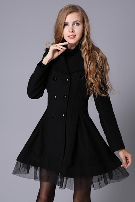 Black Winter Autumn Wool Coat Woolen Jacket Women Overcoat WC071-2