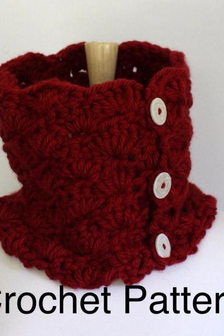 Crochet chunky cowl pattern - warm oversized cowl scarf using chunky yarn - circle scarf pattern - neckwarmer - pdf