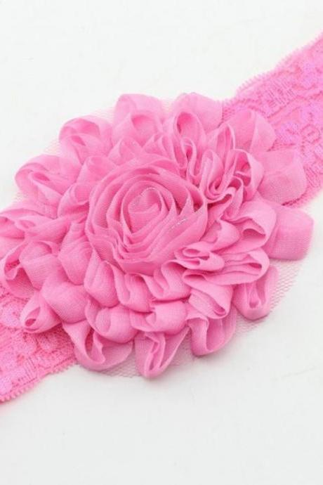 Pink Headband for Girls, Newborn Props One Size Pink Flower Pink Headbands