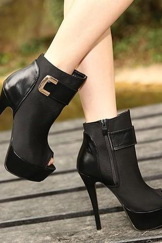 Sexy European Club Style Peep Toe Metal Decoration Pure Color Side Zipper Thin Heels High Platform Boots