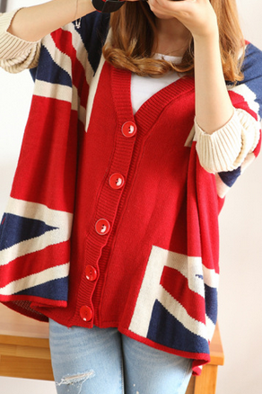 M word flag loose knit sweater coat AX090502ax