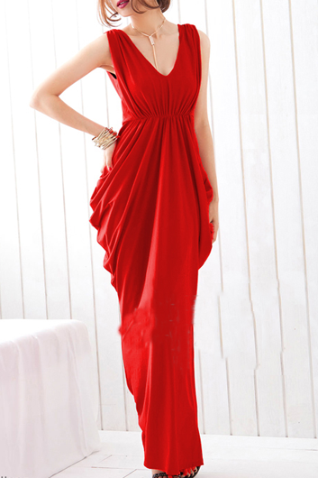 Fashion And Sexy Sleeveless V Neck Shiny Maxi Dress - Red