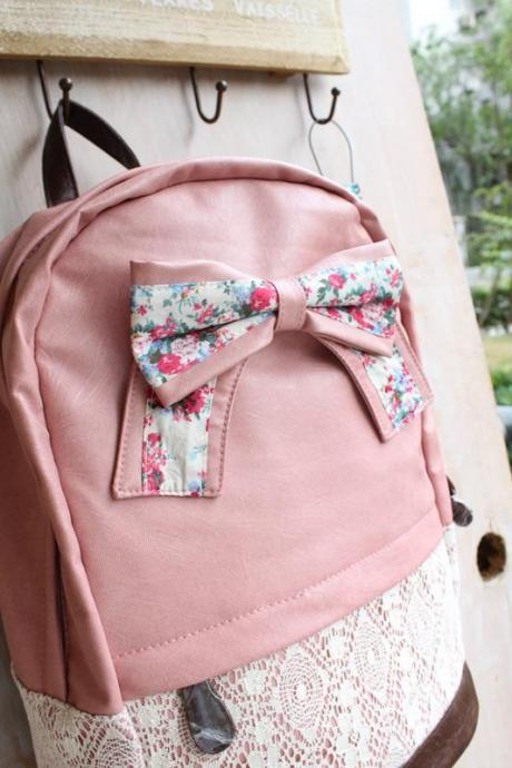 Cream Backpack with Red Floral Bow & Lace-pink