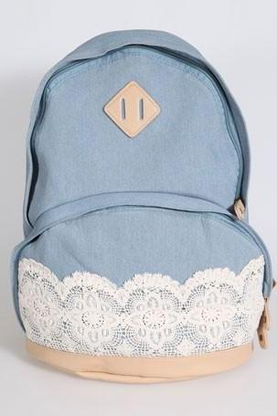 Hot sale Cute Denim Authentic Lace Backpack for women