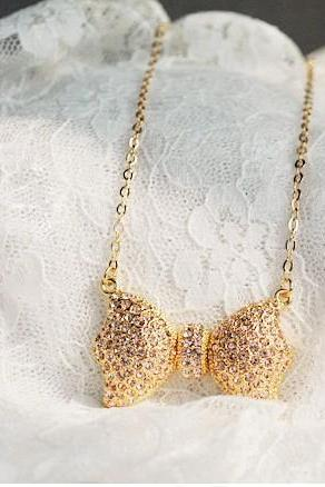 Fashion diamond bow necklace LS090506WA