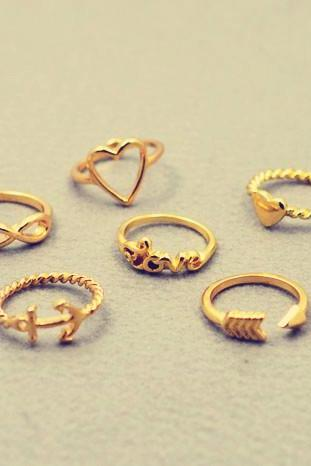 *Free Shipping* New fashion jewelry heart anchor infinity love finger ring set gift for women ladies' R1161
