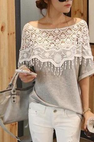 Sweet lace hollow bat sleeve T shirt #090703WM