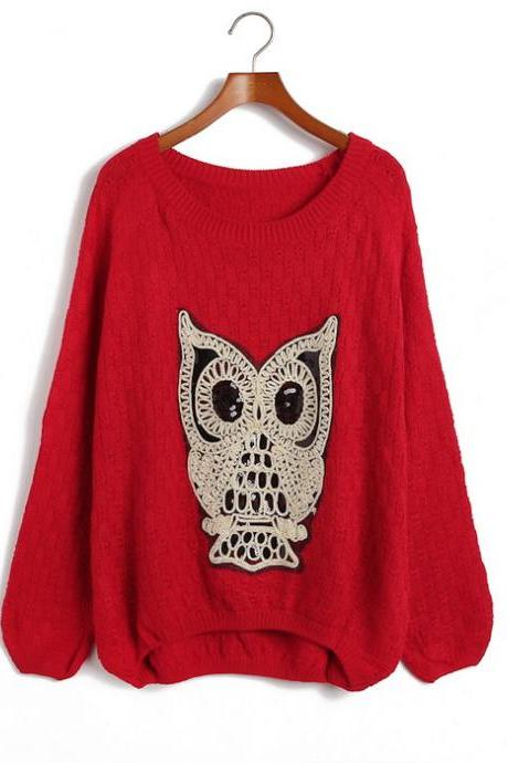 Loose Owl Irregular Bottom Knitting Sweater
