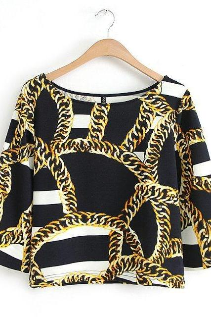 Simple Fashion Chain Printing Blouse T Shirt WC001