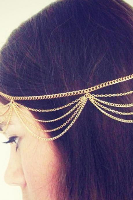 Women Lady Beauty Celebrity BOHO Chain Fringe Tassel Metal Head Piece Hair Band