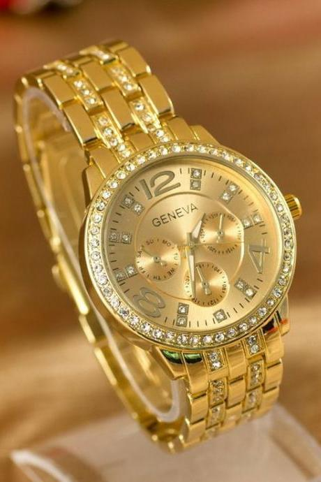 Woman steel watch with rhinestones