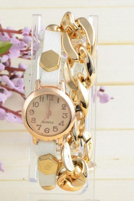 Thin leather strap chain decor woman watch