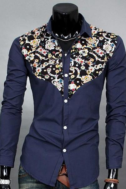 Vintage Men Shirt Dark Blue